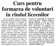 Articol ZIARUL DE BACĂU